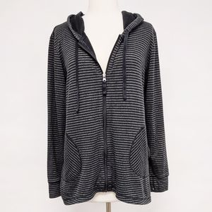 lucy | black stripe zip up hoodie sweatshirt sz L
